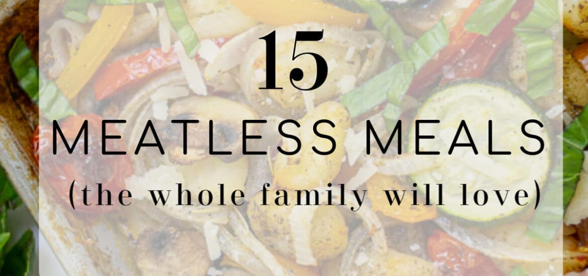 sheet pan gnocchi with '15 meatless meals' title