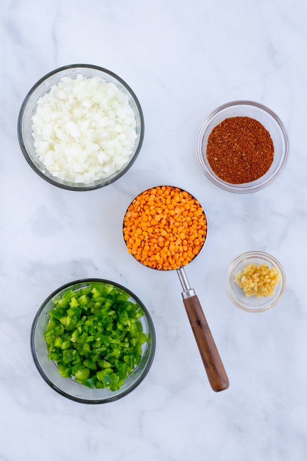 simple ingredients needed to make easy vegetarian red lentil taco 'meat'