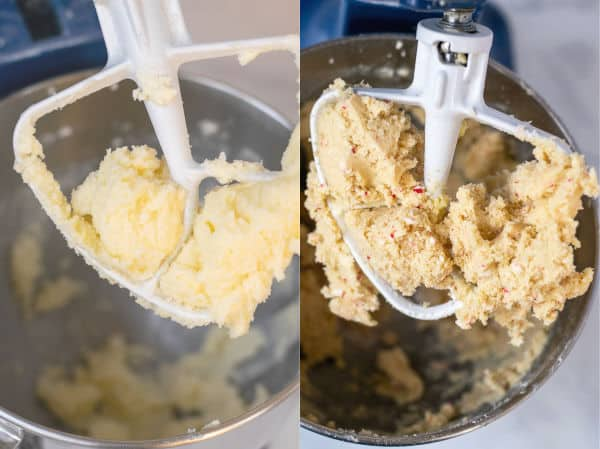 process shots of the butter and usage being creamed and what the batter looks like once the crushed candy canes are added