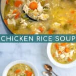 comforting chicken and rice soup in a large pot and bowls