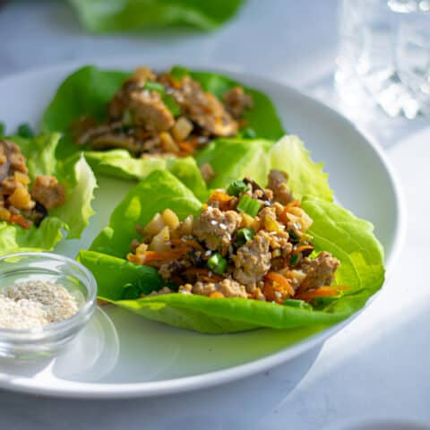a white plate full of asian chicken lettuce wraps with sesame seeds and green onions