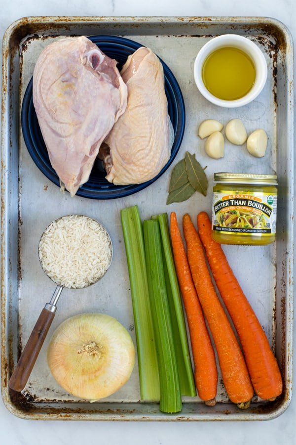 all of the ingredients needed to make chicken rice soup from scratch