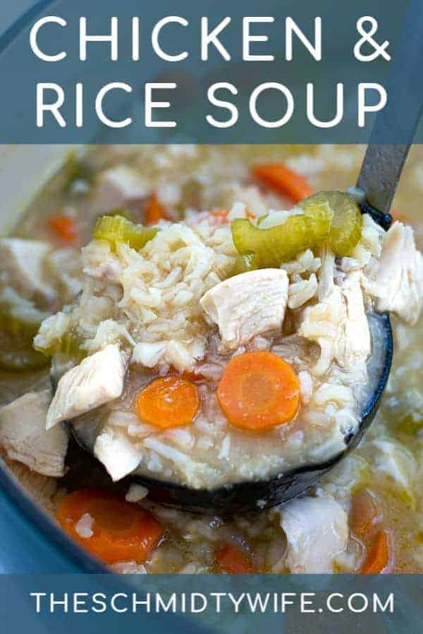 chicken and rice soup in a large black ladle