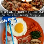 collage with an adult version and kid version of Korean turkey bibimbap