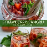 pitcher of strawberry sangria with basil
