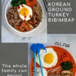 adult and kids plate for Korean bibimbap made with healthy ground beef