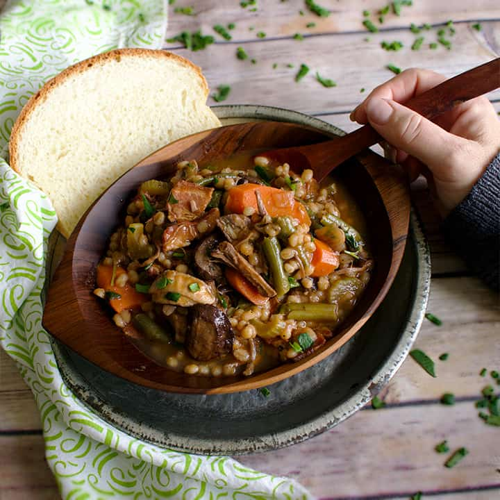 Beef & Barley Soup with Roasted Mushrooms & Bacon