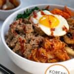 close up of a bibimbap bowls with Gochujang sauce and ground turkey