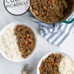 a perfect family dinner, cuban picadillo is served up in white bowls