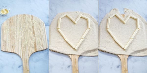 photos showing the first steps to make a pizza heart, rolled out dough and string cheese in a heart shape