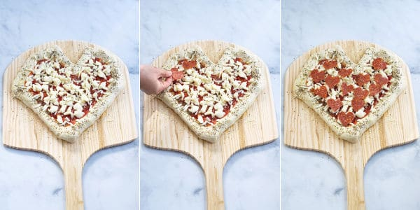 pepperoni hearts being added to the pizza dough and a photo of the pizza ready for the oven