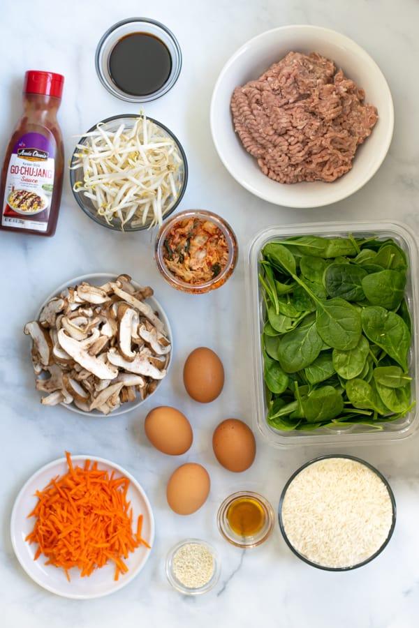 all the ingredients needed to make Korean turkey bibimbap bowls