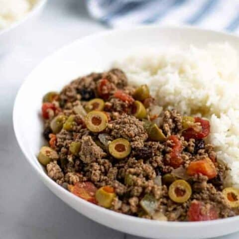 large bowl of cuban picadillo with rice