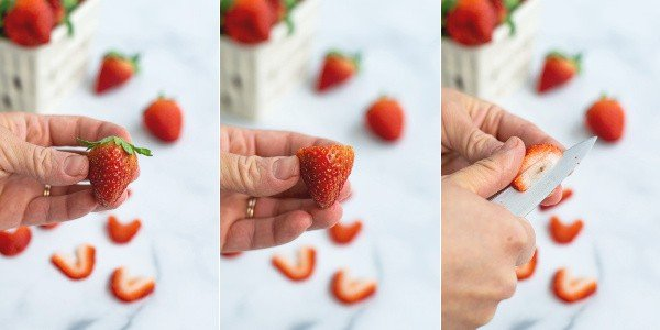 step by step pictures of a strawberry being cut so that it looks like a heart when sliced