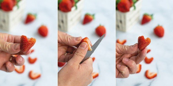 step by step pictures of carving a strawberry to prepare it for being sliced into a heart shape