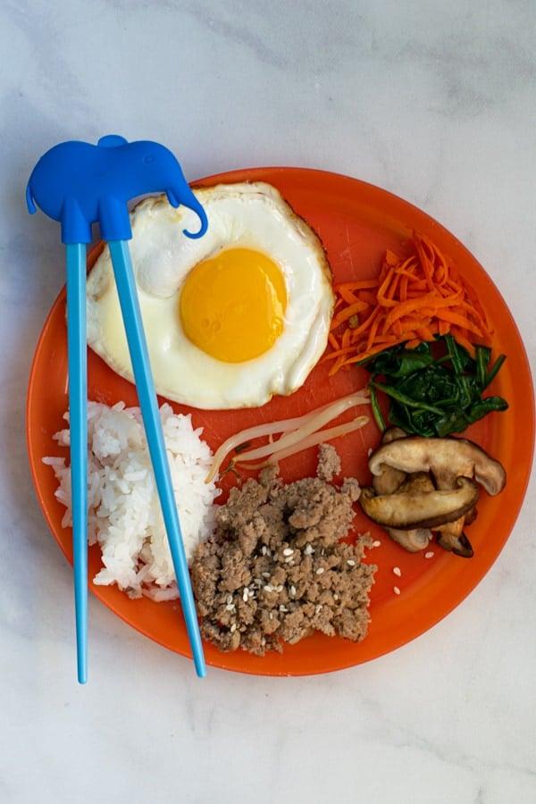 kids plate version of Korean bibimbap bowl