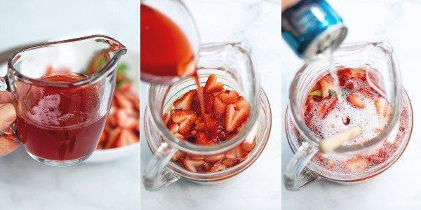 photos of homemade strawberry syrup and being poured into a pitcher with club soda