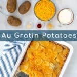 ingredients and final Au Gratin Potato dish pin