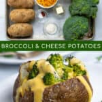 two photos making a Pinterest pin showing ingredients and final recipe for broccoli cheese potatoes