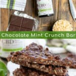 Ingredients and final product for the Chocolate Mint Crunch Bar recipe