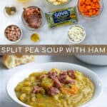 ingredients and final product of pressure cooker split pea soup with ham pinterest pin