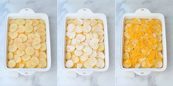 photos showing the final layering step of potatoes, cream sauce, and the shredded cheese