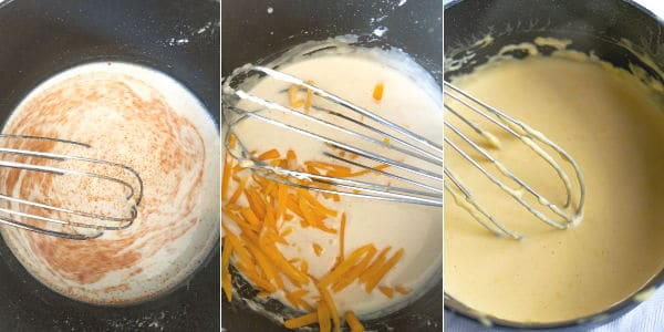 adding spices and cheese to the milk to make a creamy cheese sauce
