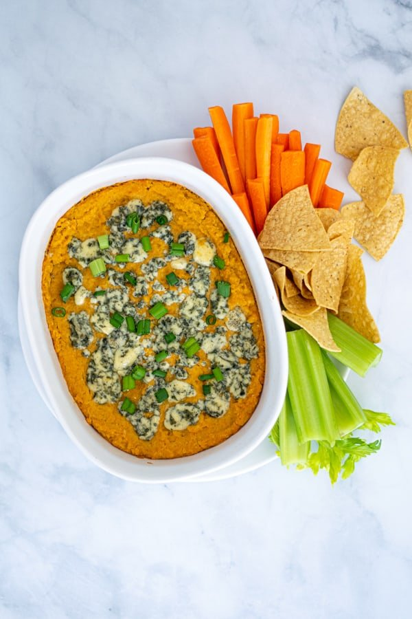 overhead shot of vegetarian Buffalo Chickpea Dip