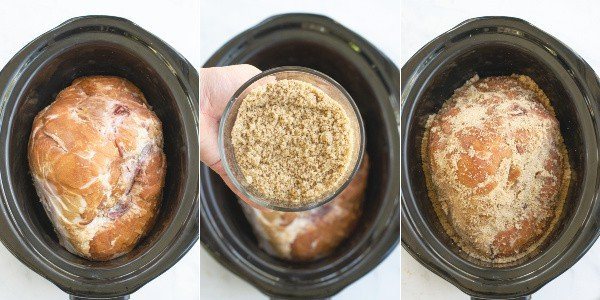 step by step pictures of the ham placed in the slow cooker, the brown sugar mix, and the brown sugar mix being rubbed onto the ham