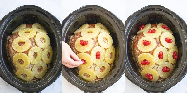 step by step pictures showing how the pineapple and cherries are placed on the ham in the slow cooker