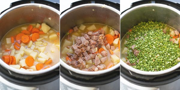 step by step photos of adding the veggies, broth, peas, and diced ham to the pot