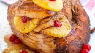 Easy Crockpot Ham with Pineapple and Cherries