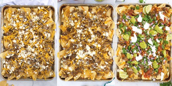 steps of making the nachos before they go in the oven, after they are baked in the oven, and after they are topped with toppings
