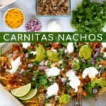 leftover Carnitas Nachos Pinterest Pin with a sheet pan of nachos with cheese and toppings