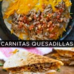 Pinterest Pin with post title showing two photos, one of quesadilla being cooked in a skillet and one with two cut quesadillas on a cutting board