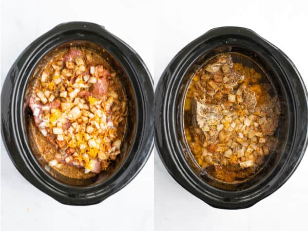 a photo showing the crockpot contents before it is cooked and after it is cooked