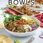 pinterest pin with a large white bowl full of pork carnitas, quinoa, arugula, and fresh toppings!