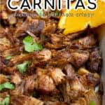 Slow Cooker Carnitas Pinterest Pin showing crispy carnitas up close on a sheet pan