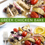 two photos making up a Pinterest Pin for Greek Chicken Bake