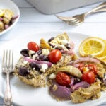 Greek Chicken Bake Pinterest Pin with toppings and quinoa all baked in one dish