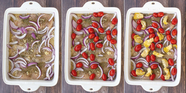 three photos showing step but step of adding onions, tomatoes, and artichoke hearts to the baking dish
