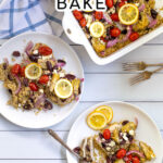 Greek Chicken Bake Pinterest Pin with two plates and a baking dish with Greek chicken