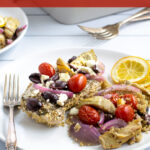 One Dish Greek Chicken Bake Pinterest Pin showing baked chicken breast on a plate with greek toppings and quinoa