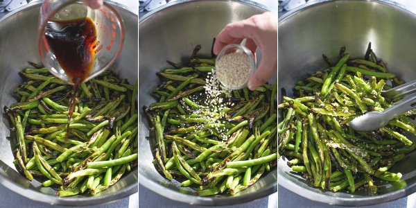 three photo collage showing the grilled and charred green beans being tossed with teriyaki sauce and sesame seeds and the beans in a tongs