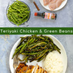 Pinterest Pin with two photos, one showing the ingredients needed for the recipe and the other showing the final meal