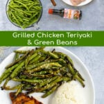 Pinterest Pin for Grilled Teriyaki Chicken showing two pictures, one of all the ingredients needed and one with the fully cooked meal on a white plate