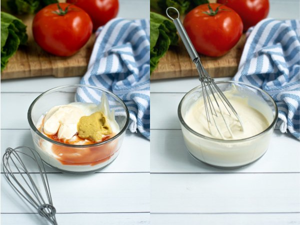 two photo collage of the ingredients to make the secret sauce in a bowl and then all of the ingredients whisked together to form a sauce