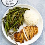 Pinterest Pin showing an overhead view of Grilled Teriyaki Chicken and Green Beans on a plate with rice