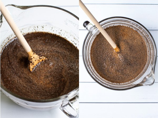 coffee grounds being stirred in a large glass batter bowl with a wood spoon and what it will look like before you place it in the fridge