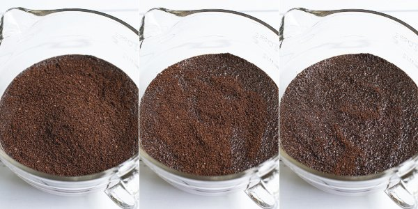 step by step photos of the coffee ground starting to bloom in the water after being poured in the large bowl